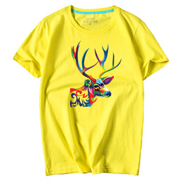 Casual Men's short sleeve O-Neck Color Moose Printed large size T Shirts Summer High Quality Hipster tee shirts