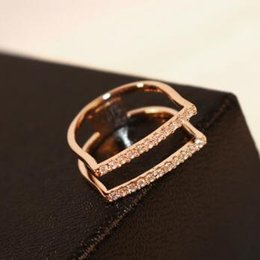 European Unique Cubic Zircon Ring Hollow Out Rose Gold Plated Charms Rings for Women Party Costume Jewelry Vintage Finger Rings
