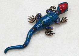 Free shipping Wholesale Crystal Rhinestone Enamel Brooches Gecko Pin Brooch Jewelry gift C720