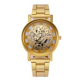 AAA Steel belt men's watch Hollowed out student Fashion imitation machine Quartz Watches gift Wristwatch