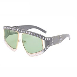 2018 Fashion Rhinestone Inlay Oversized Square Sunglasses Women Elegant Brand Designer Big Mirror Sun Glasses For Female UV400
