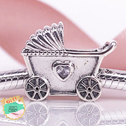 Factory Wholesale Authentic 925 Sterling Silve Beads Baby Pram Charm With Clear Cubic Zirconia Fit Women DIY Bracelet ewellery 792102CZ