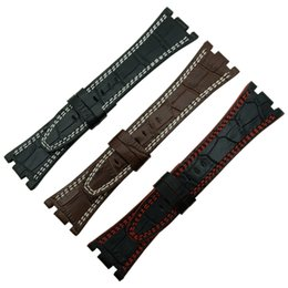 Hot Handmade 28 mm Black Red   White Line  Brown White Line Genuine Leather Strap for fit for Audemars Piguet + Tool (No Clasp)