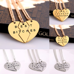 Broken Heart Best Bitches Friends friends girlfriends two three couples pendant necklace