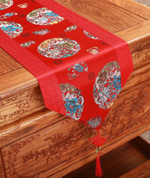 Patchwork Fancy Silk Fabric Coffee Table Runner Decorative Chinese style Rectangle Damask Table Cloth Runners Dining Table Mat 180 x 33 cm