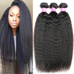 Brazilian Kinky Straight Yaki Human Hair Weave 7A Brazilian Virgin Hair Bundles 3 or 4 Pieces Wavy Hair Extensions Wave Weft Wholesale 1B#