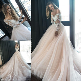 Blush Pink 2018 Long Sleeves Lace Wedding Dresses Off Shoulder Sheer Tulle Applique Layered Ruffles Backless Sweep Train Garden