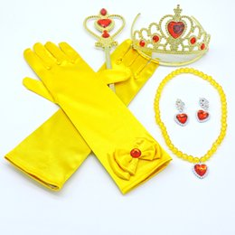 Kids Birthday Party Costume Accessories 5 PCS Gift Set Princess Cosplay Gold Tiara Crown Wand And Gloves Jewelry Sets Kids Gift