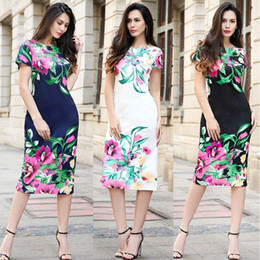 Europe big size women dress summer printing round neck dress new style vestido para mujer