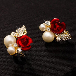 Vintage Pearl Crystal Stud Earrings Women Red Flower Earrings Elegant Jewelry for Party Accessories Bijoux Femme