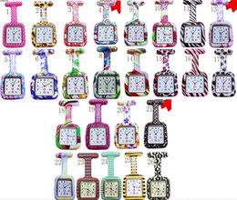 Wholesale 800pcs lot 26colors Square Colorful Prints Silicone Nurse watch Pocket Watches Doctor Fob Quartz Watch Kids Gift Watches NW016