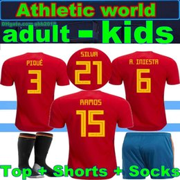 17 18 Spain kids jersey 2018 Spain home red Soccer Jersey MORATA ISCO ASENSIO MORATA ISCO ASENSIO Football uniforms sales