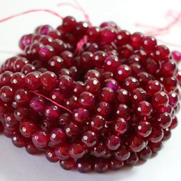 beautiful 8mm Brazil Faceted Red Ruby Round Loose Beads 15inches