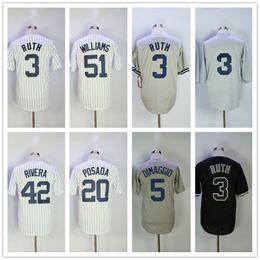 Men 42 Mariano Rivera 3 Babe Ruth Basketball Jersey 51 Bernie Williams 20 Jorge Posada 5 Joe DiMaggio Throwback Baseball Jerseys