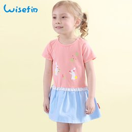 Wisefin Girls Dresses Summer Cotton Short Sleeve Kids Dress Cartoon Pink Print Patchwork O Neck Dress Baby Kids Girl Clothing