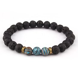 8mm Lava Stone Beaded Bracelet Bangle Imperial Beads Stretch Energy Yoga Jewelry Bracelets Women Men