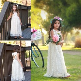 2019 Country Cheap Full Lace Flower Girls Dresses With Bow Sleeveless Ritzee Girls Pageant Party Gowns Teens Kids Formal Communion Dresses