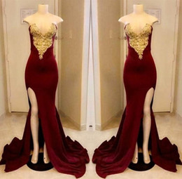 Long Dark Red Prom Dresses 2018 Strapless Gold Applique With High Slit Prom Dress Floor Length Formal Pageant Gowns Custom made