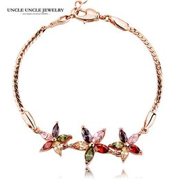 Multicolored Bracelets Rose Gold Color Zirconia Crystal Daisy Petal Flower Style Woman Bracelet Wholesale Gift