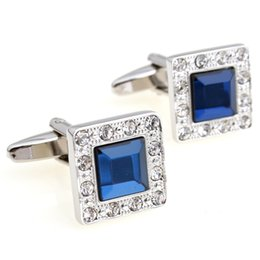 Free shipping brand new sapphire cufflink high quality anti-oxidation copper blue design wholsale 980006