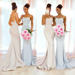 Babyonline New Arrival Bridesmaid Dresses 2019 Sexy Backless Spaghetti Straps Sweep Train Long Maid of Honor Gowns for Church Weddings