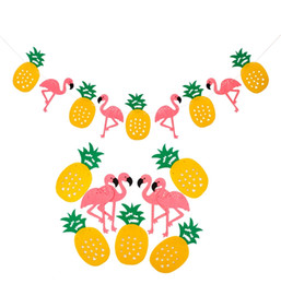 Flamingo Party Decoration Happy Birthday Banner Flag Garland Hawaiian Luau Tropical Coconut Leaves Event Party Supplies free shipping 2018