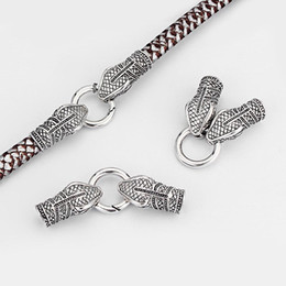 2 Sets Antique Silver Snake Head End Cap Spring Clasp for 10mm Round Leather Accessories Jewelry Findings
