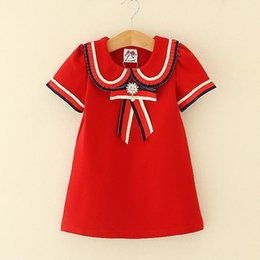 Kids Girl Dress 2-6T Baby Girls Striped Pearl Bow Dresses 2018 New Infant Princess Short Sleeve Dress For Party Children Clothing D435-1