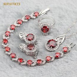 Red Women Wedding Jewelry Sets - Wholesale Round AAA Zircon Silver Plated Pendant Necklace Earrings Rings Bracelet For Women Size 6-10