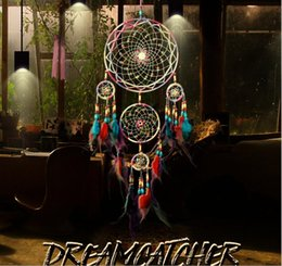 Wholesale Indian 5 Circle Dream Catcher Wind Chimes Ornament Enchanted Forest Dreamcatcher Household Wall Hanging Decor Arts Crafts Supplies