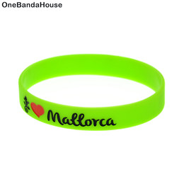 Wholesale New Arrival 100PCS Lot Love Mallorca Printed Logo Silicone Wristband Fashion Bracelet Adult Size Green