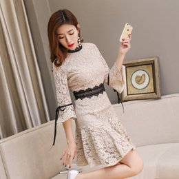 2018 spring new lace collar middle waist trumpet sleeves A word skirt lace dress temperament fashion