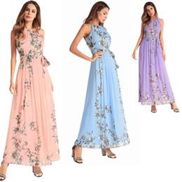 Women Summer Dress Chiffon Floral Print Halter Tunic Sleeveless Pleated Long Maxi Party Boho Dresses With Belt Vestidos DK5557HY