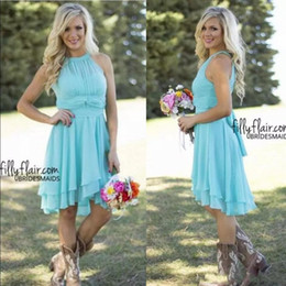 2018 Cheap Country Short Bridesmaid Dresses Beach Chiffon Knee Length Wedding Guest Wear Party Dresses Maid of Honor Gowns Under 100