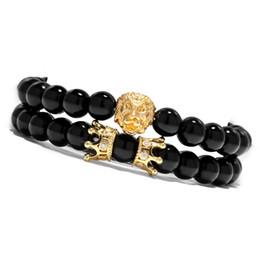 Animal King Lion Double Crown Wrap Bracelet Set For Women Men Black Stone Stretch Beaded Bracelets Pulseras