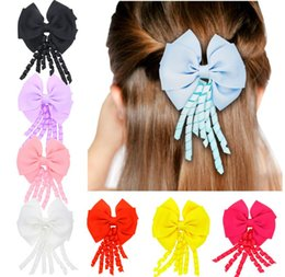 4 inch curly streamer Barrettes Double bow Ribbon Tail hairpins Cute Hair Bow With Clip For Girls 8 colors C2685