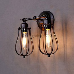 AC110-230V 2pcs E27 bulbs Art Deco Vintage Industrial Antique Metal Cage Wall Lamps Lampshade Black two heads wall sconces lamps