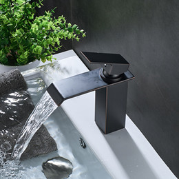 Oil Rubbed Bronze Bathroom Wide Spout Black Waterfall Basin Sink Faucet One Handle Hot Cold Water Mixer Tap