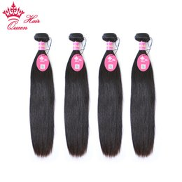 "Queen Hair Unprocessed Virgin Hair 4pcs Brazilian Straight Weft Human Hair Weave Wholesale 12""-28"" DHL Free Shipping"