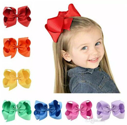 30 Colors 6 Inch Fashion Baby Ribbon Bow Hairpin Clips Girls Large Bowknot Barrette Kids Hair Boutique Bows Children Hair Accessories JOJO