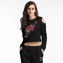 Rose Embroidered Applique Sweatshirt 2018 Autumn White and Black Women O Neck Pullovers Long Sleeve Casual Vintage Ladies Sweatshirt