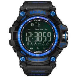 50 Metros Swim Dress Relojes deportivos Smael Brand Army Green Style Enlace Bluetooth Relojes inteligentes Hombres Deporte Digital Reloj masculino 1617B