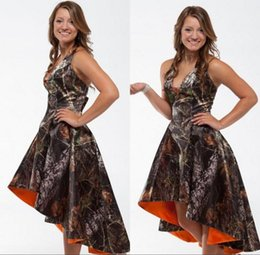 Custom Made Cheap Camo Bridesmaid Dresses Halter Neck High Low Backless Maid of Honor Gowns A Line Camouflage Bridesmaids Dress