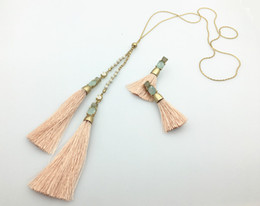 TASSEL EARRINGS & LONG TASSEL NECKLACE SET WITH STONES & BEADS MIXED COLORS AS A GIFT FOR FAMLE ON WHOLESALE