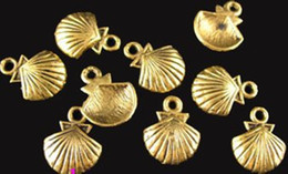 300pcs Antiqued gold plt lined shell charms 11X14MM A412G