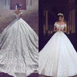 Gorgeous 2019 Special Lace Ball Gown Wedding Dresses Princess Off The Shoulder Puffy Chapel Train Bridal Gowns Luxury Custom Made EN1202