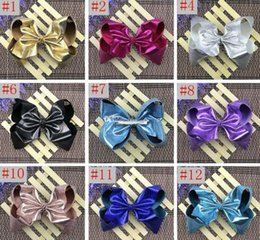 Jojo 8inch width 7.5CM Girls leather bowknot clip Princess Christmas party performance headdress Girl hair ornaments hot selling in stock