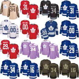 Mens Womens Kids Custom Toronto Maple Leafs 34 Auston Matthews 16 Mitch Marner 29 William Nylander 31 Frederik Andersen Hockey Jerseys