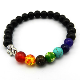 8mm Matte Natural Stone Beads 7 Chakra Healing Balance Elephant Bracelete Feminino Yoga Reiki Prayer Bead Bracelet for Men Women