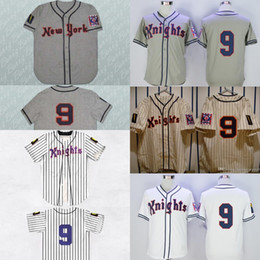 Men's Youth women Roy Hobbs Jersey #9 New York Knights 1939 New York The Natural Baseball Jerseys White Navy Blue Stripe Size S to XXXL
